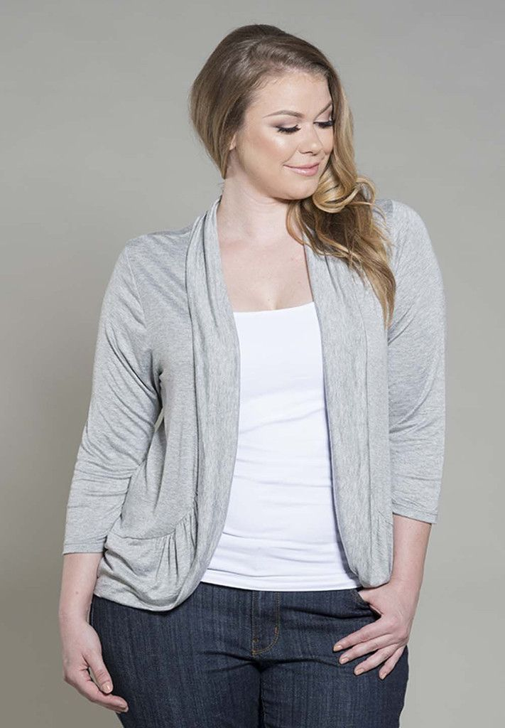 amber shrug - heather grey the amber shrug is a staple piece that