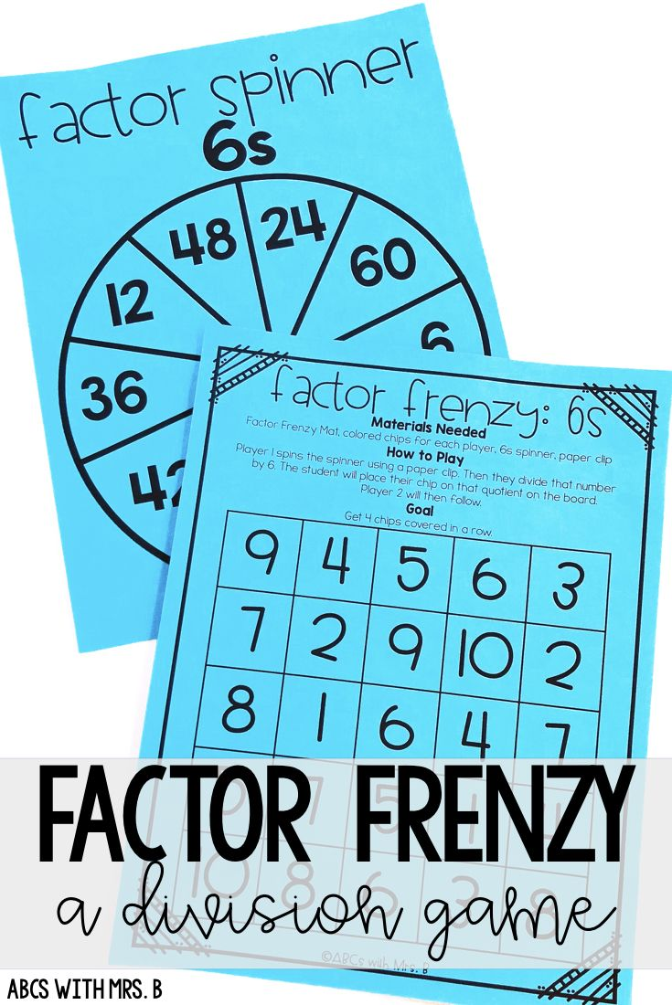 Factor Frenzy: A Division Facts Game   Division, Math and Students