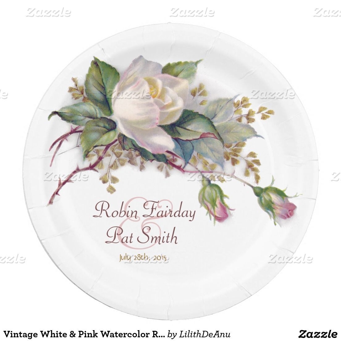 Vintage White & Pink Watercolor Roses Paper Plate 9 Inch Paper Plate ...
