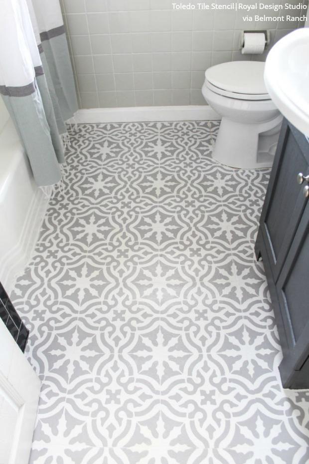 Toledo Tile Stencil In 2020 Diy Painted Floors Diy Bathroom