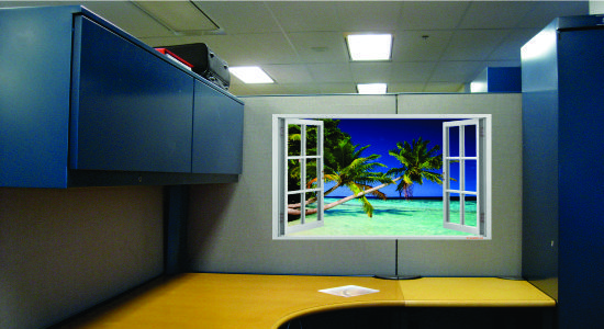Give Your Cubicle A Window View With Dream Cubicle Wallpaper To Decorate Your Space Cube Decor Cubicle Design Cubicle Decor