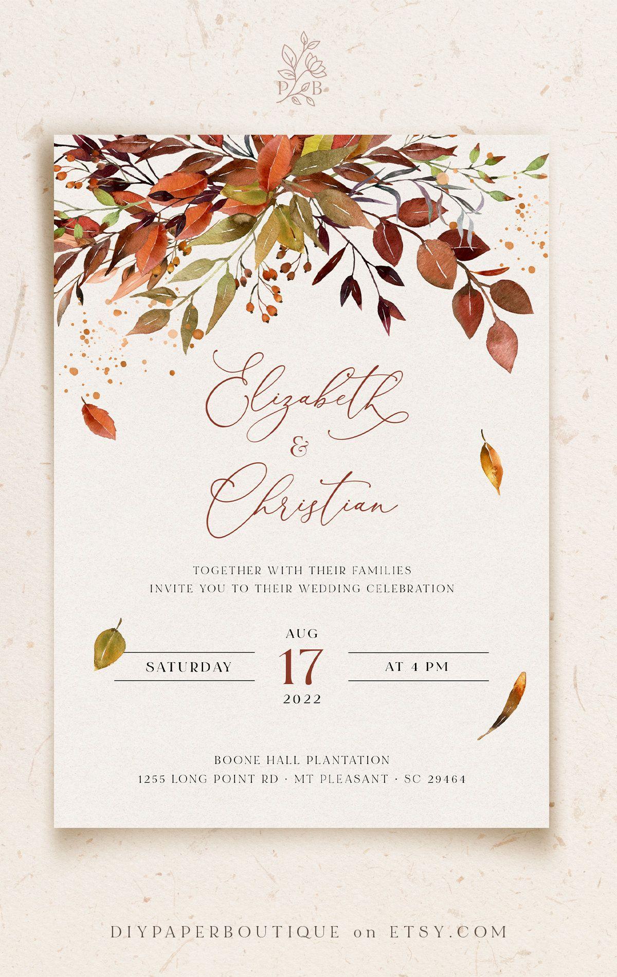 Photo of SIENNA – Bohemian Rustic Fall Wedding Invitation Template, Fall Leaves and Greenery, Burnt Orange Invites, Boho Fall Invitations, DIY