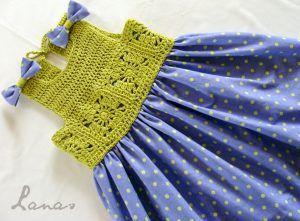 Kumaşla Motifli Örgü Çocuk Elbise Yapımı #uncinettoperbambina