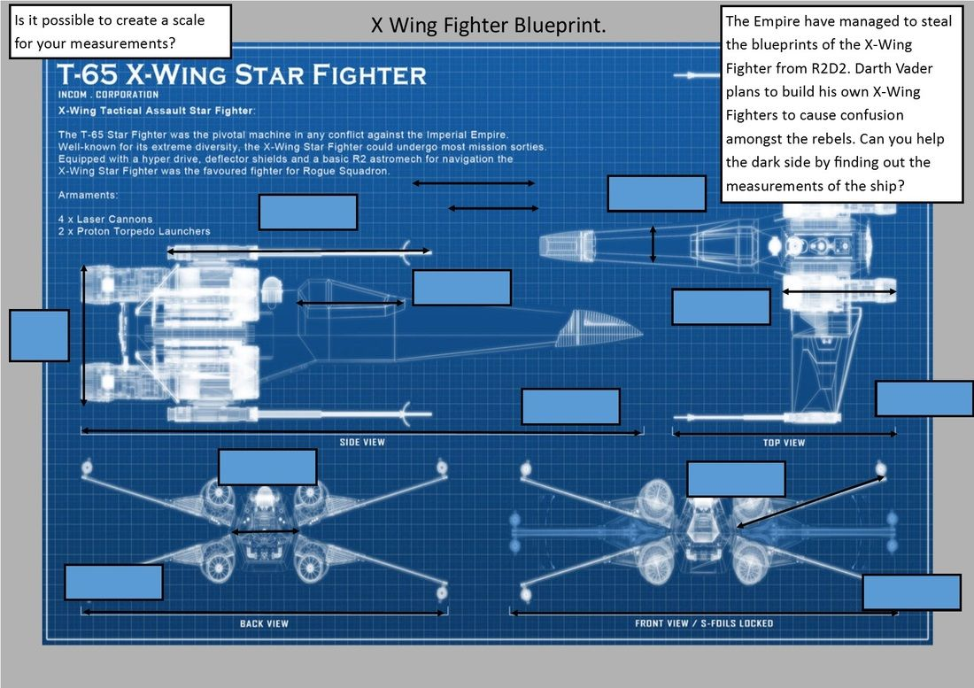 X Wing Fighter Measuring Blueprint