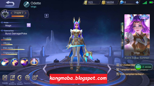 The Latest Zodiac Odette Skin Full Effect Mobile Legends Patch In 2020 Mobile Legends Virgo Zodiac Zodiac