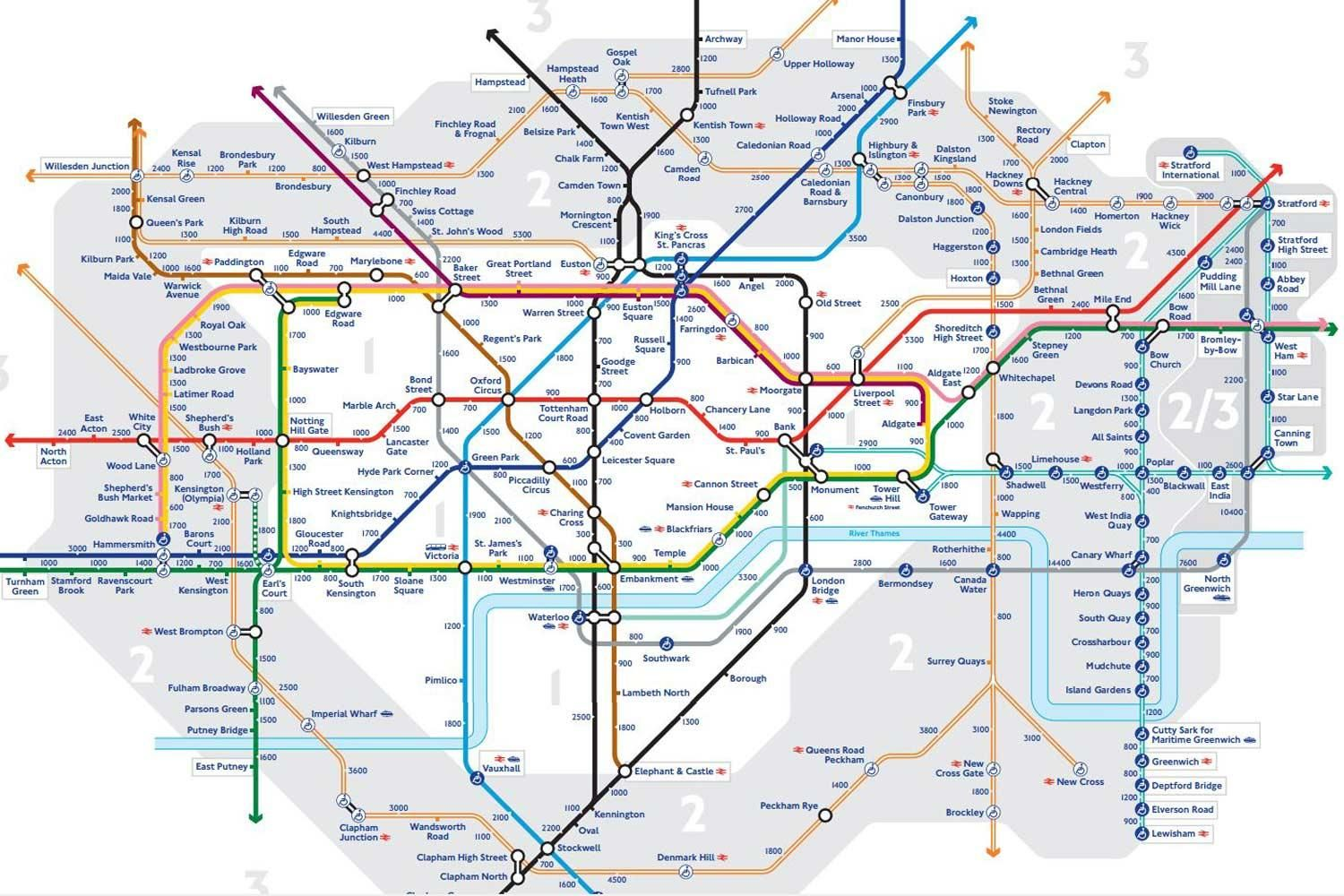 TfL has released a \'walk the Tube\' map showing the distance between ...