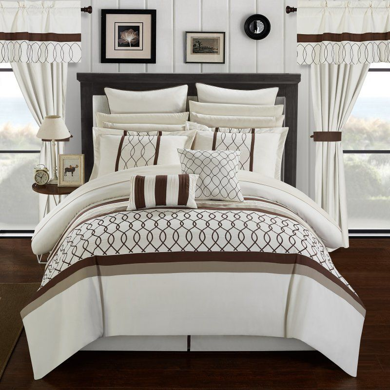 Lance 24 Piece Bed In A Bag Queen Comforter Set By Chic Home Beige