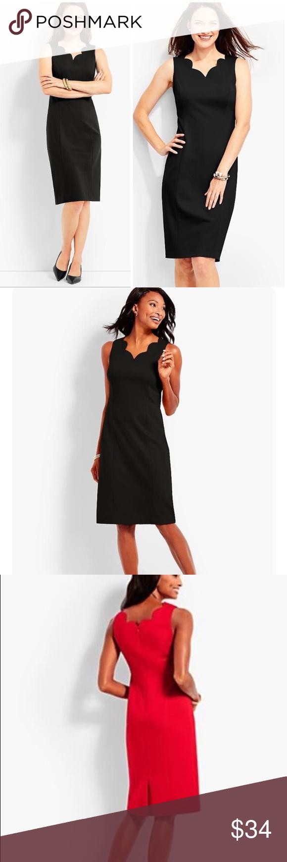 Hp Talbots Black Scallop Vneck Ponte Sheath Dress Maxi Dress With Sleeves Lace Blue Dress Sheath Dress [ 1740 x 580 Pixel ]