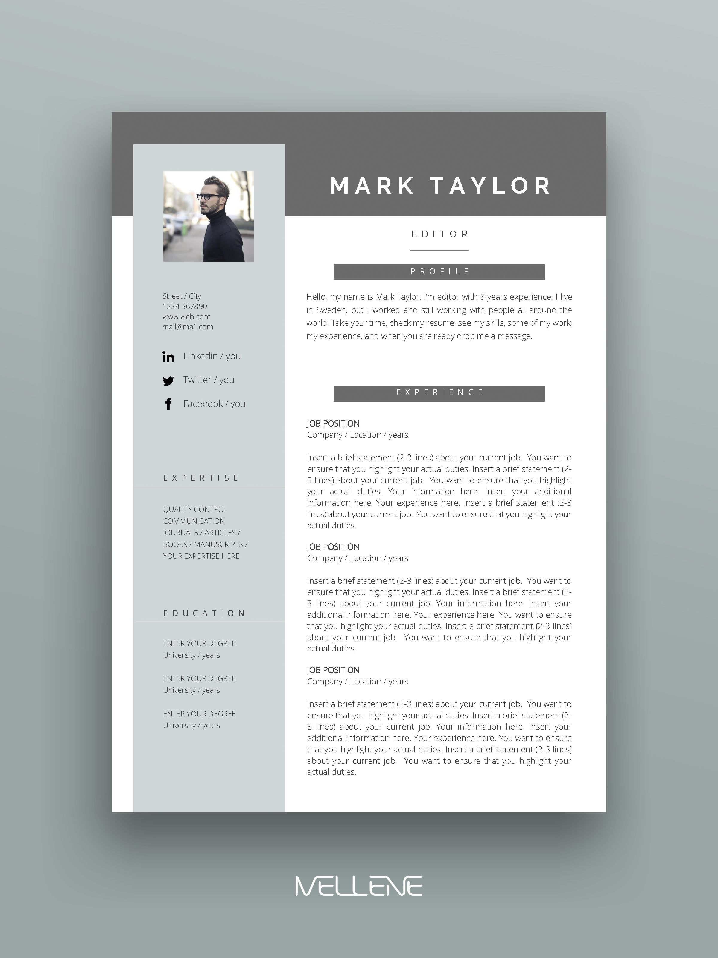 Resume Template 3 page / CV Template + Cover Letter ...