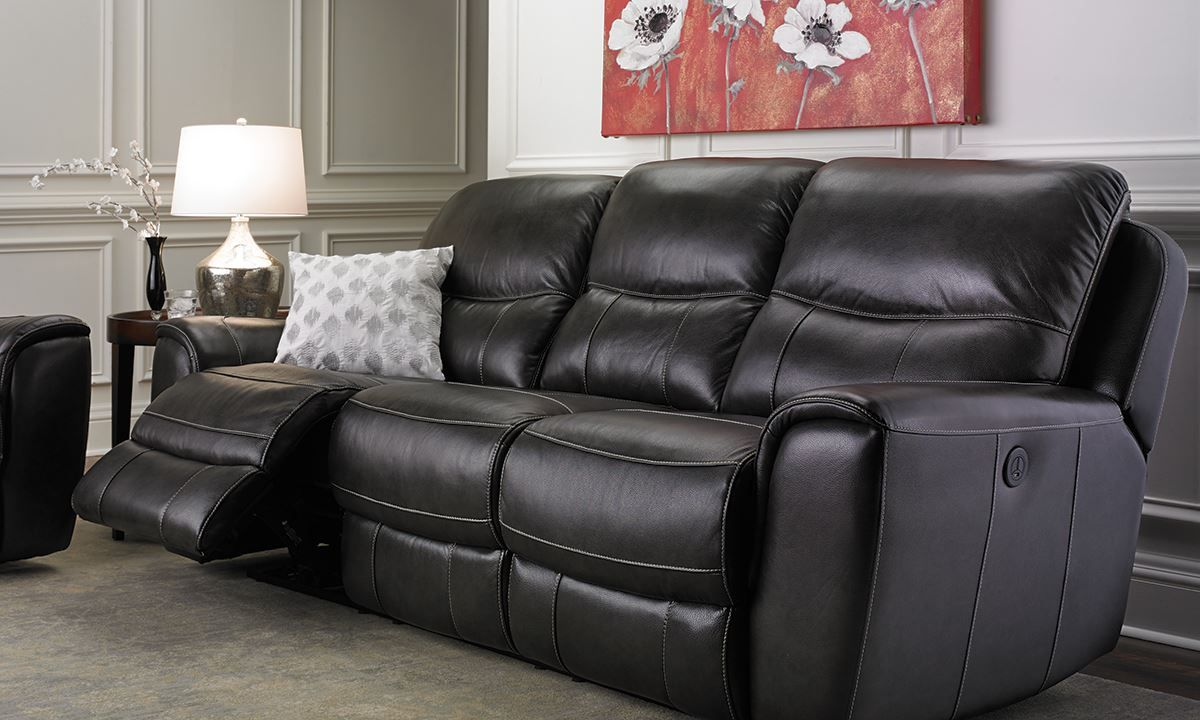 Picture Of Once Reclining Leather Sofa
