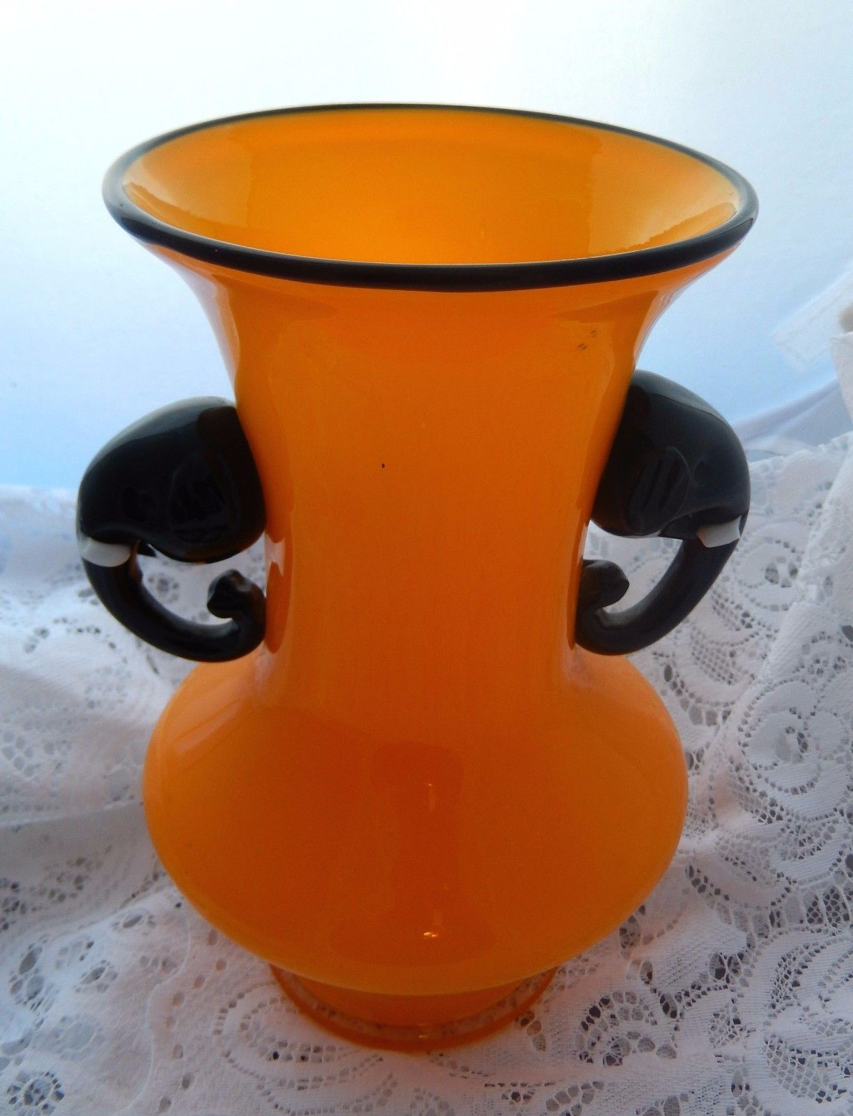 Rare loetz kralik tango elephant handle tangerine orange rare loetz kralik tango elephant handle tangerine orange opalescent glass vase ebay floridaeventfo Images