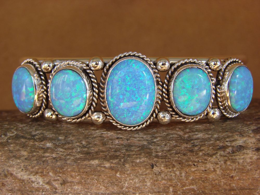 Navajo Indian Jewelry Sterling Silver Blue Opal Bracelet! Signed!