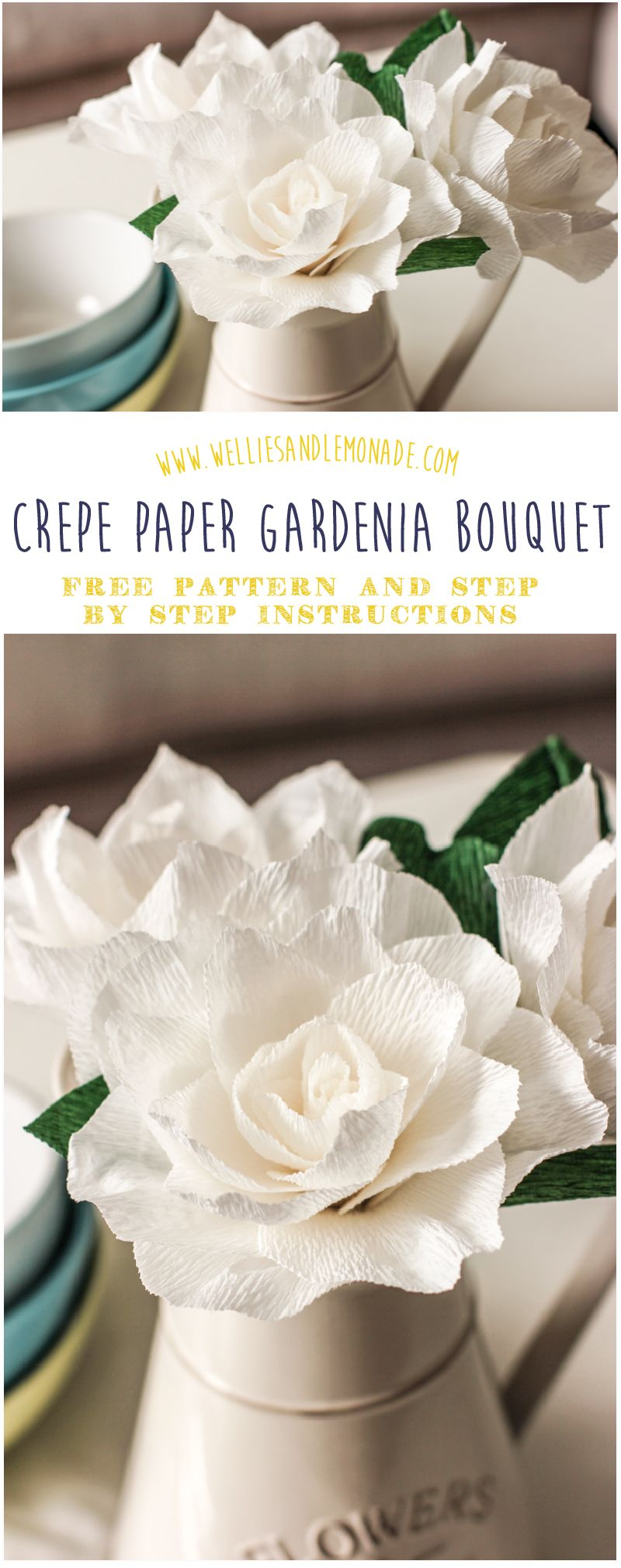 Gardenia crepe flower tutorial artcrafts pinterest gardenias learn how to make this beautiful crepe paper gardenia flower bouquet with my simple to follow step by step instructions click through to get your free izmirmasajfo