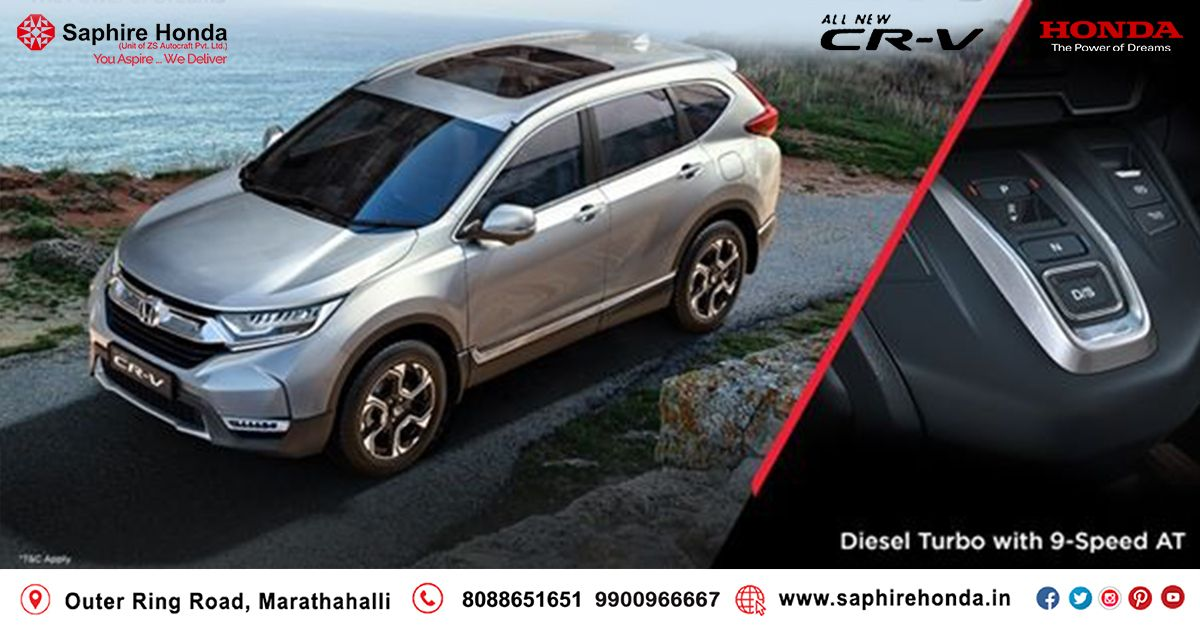 Honda CR-V comes with Diesel Turbo Engine with 9 Speed Automatic Transmission to give to effortless drives. Book a test drive today.*T&C Apply.  Visit: www.saphirehonda.in or Call: 8088651651 #HondaCRV #HondaOffer #HondaCars