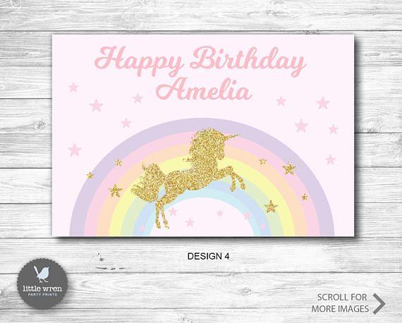 Unicorn Rainbow backdrop poster birthday party decoration ideas   Kids