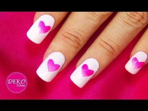 Decoracion de uñas corazones degradados / Ombre heart Nail art - YouTube
