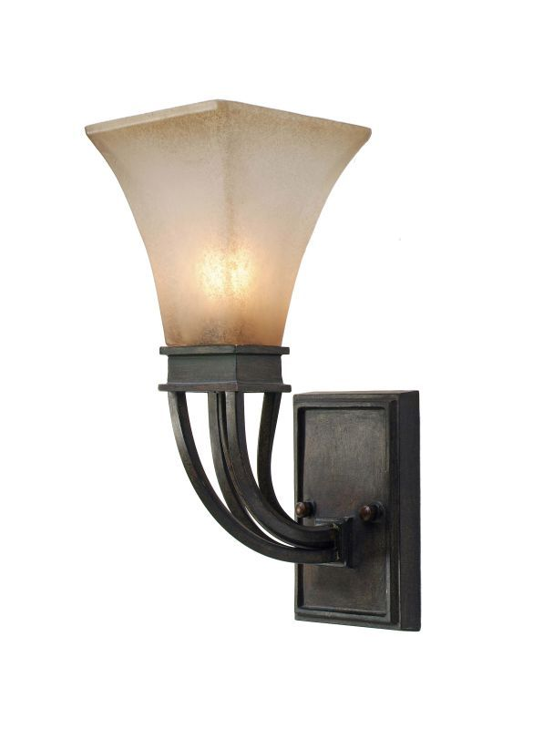 Golden Lighting 1850-1W Single Light Wall Sconce from the Genesis Collection Roan Timber Indoor Lighting Wall Sconces Up Lighting