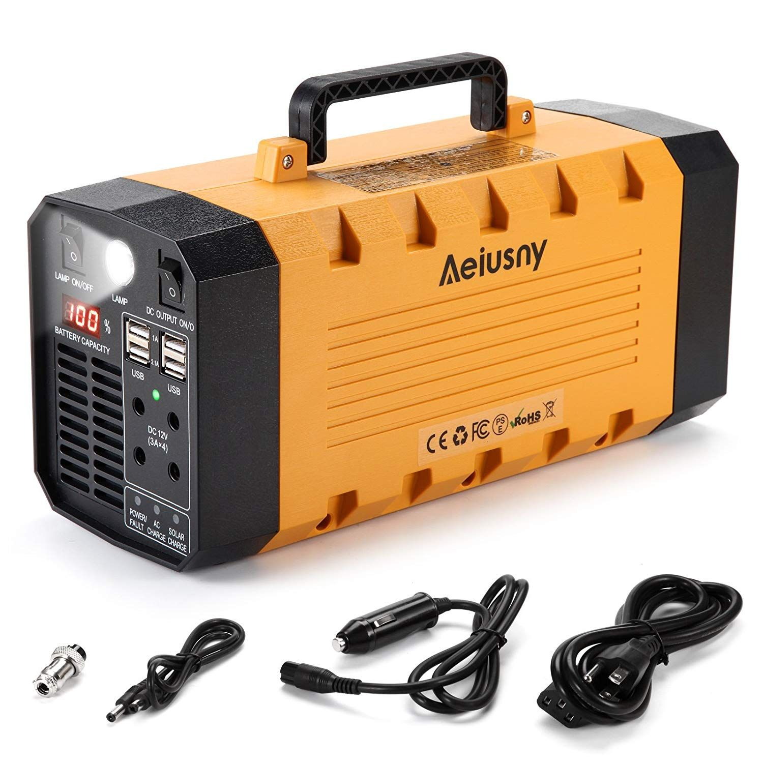 Aeiusny 500w 288wh Portable Generator Emergency Power Station Cpap Backup Lithium Battery Portable Solar Generator Solar Powered Generator Portable Generator