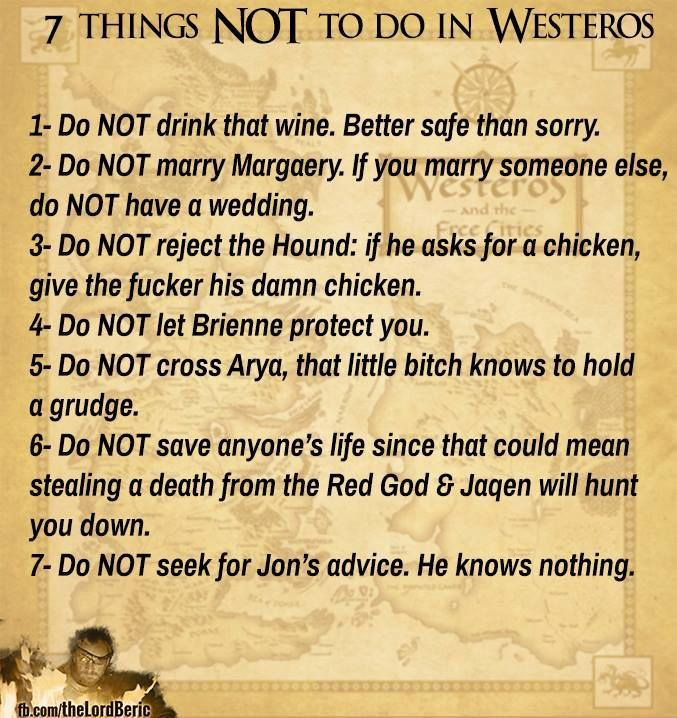 Remembering these will save you if this was real life.... Let's pretend it is real life and listen to these rules!