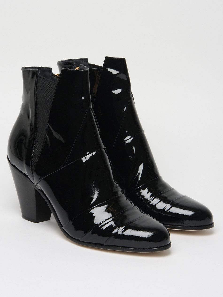 The Gareth Pugh Men S Patent Cuban Heel Boot For Autumn