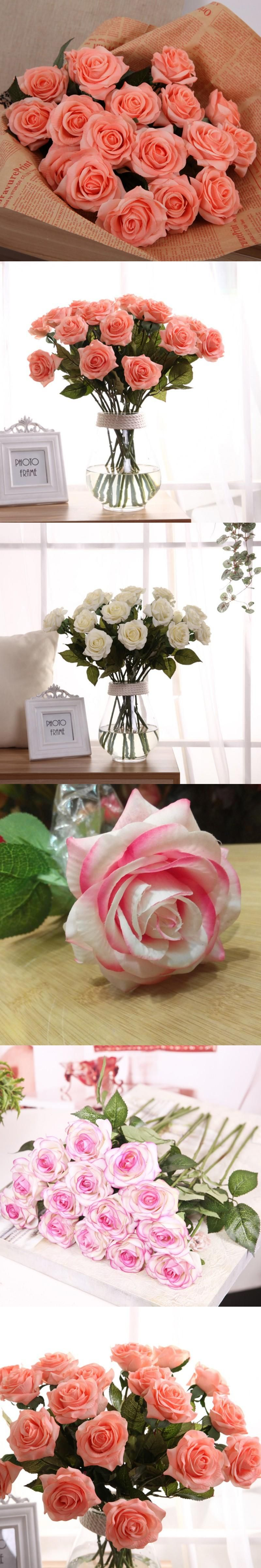 Artificial silk latex rose flowers wedding bouquet bridal decoration artificial silk latex rose flowers wedding bouquet bridal decoration bundles real touch flower bouquets realistic flow junglespirit Images