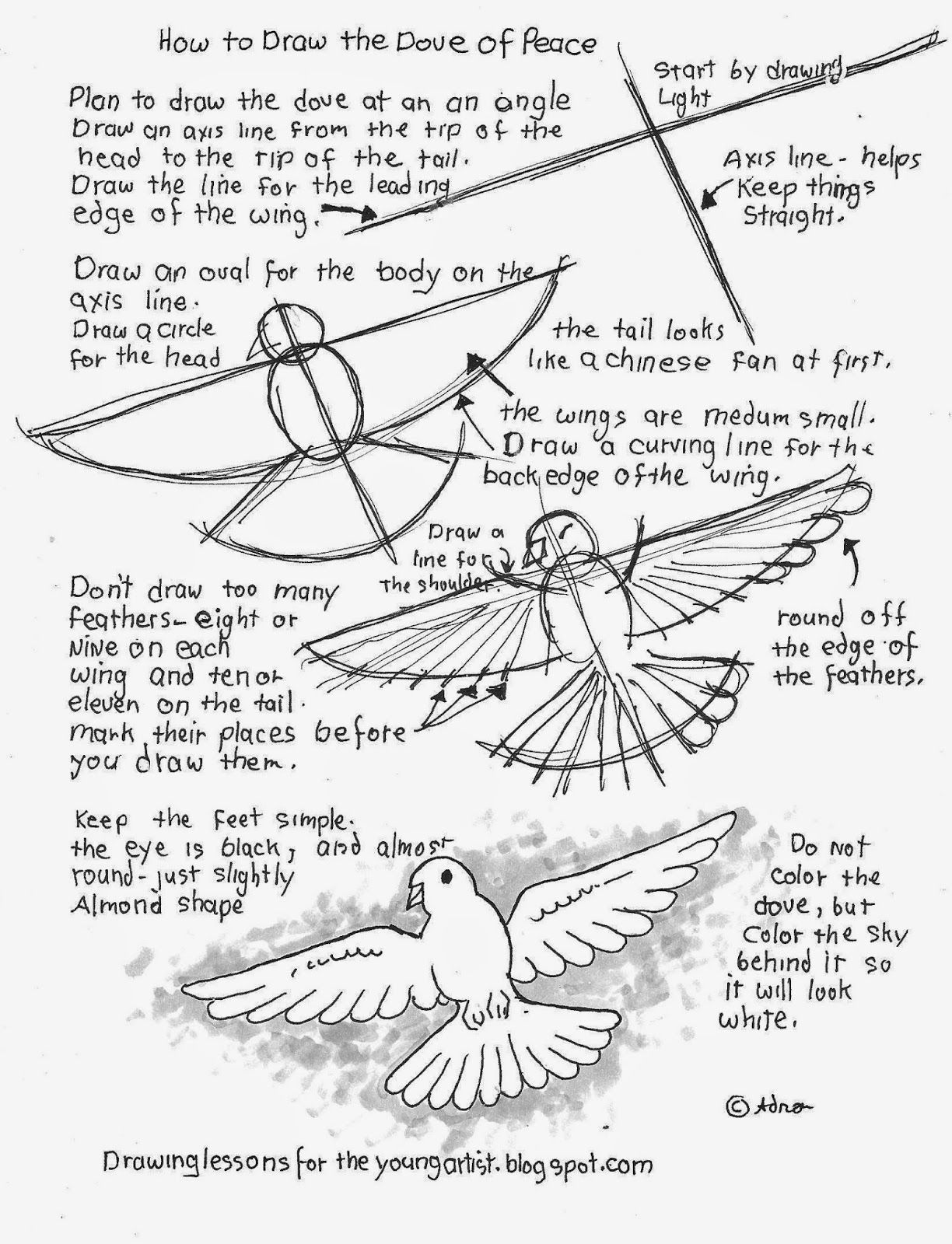 How To Draw The Dove Of Peace Free Printable Worksheet