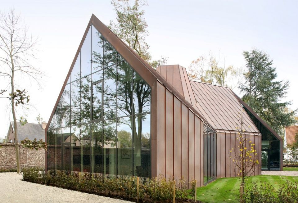Stunning Copper Glass House VDV Destelbergen Belgium @ http://decanteddesign.com/2014/05/23/copper-in-architecture-recently-completed-projects-see-a-link-to-the-copper-concept-site-under-blogroll/