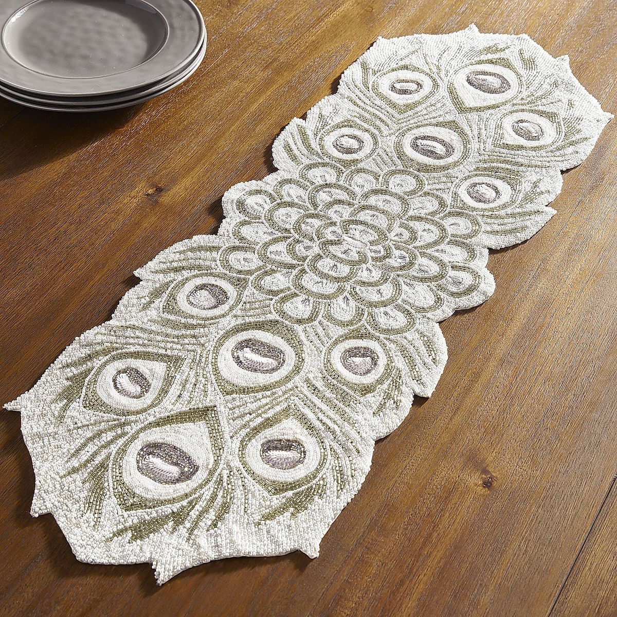 Beaded White Peacock Table Runner Pier 1 Imports Coffee Table