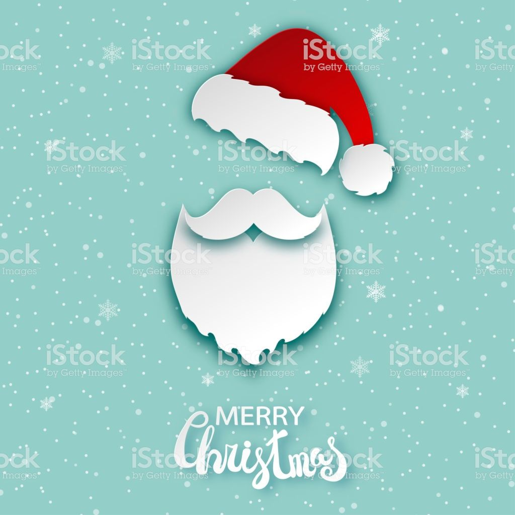 52452657607e4d Merry Christmas greeting card with paper hipster Santa Claus beard,  mustache and xmas hat.