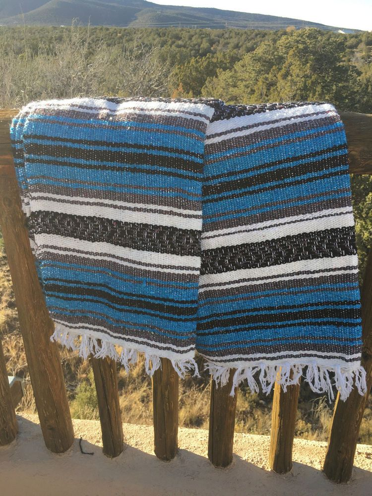 Authentic Mexican Blanket Hand Woven Falsa Yoga Mat