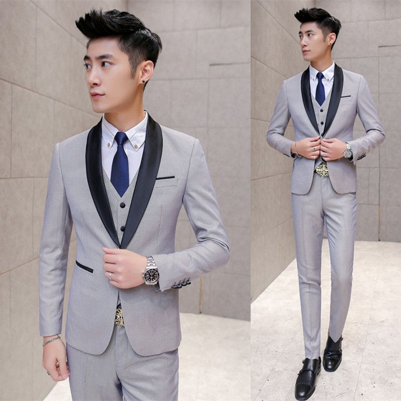 Gray Tuxedo Black Lapel 2016 New Vintage Mens Suit Coustume Homme ...