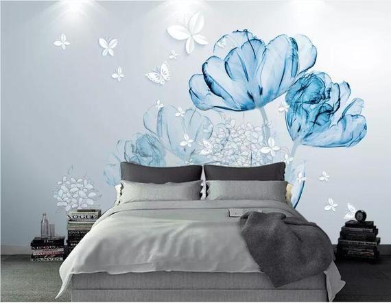 3d Blue Flowers Gn1043 Wallpaper Mural Decal Mural Photo Etsy In 2021 Mural Wallpaper Wall Wallpaper Wall Stickers Wallpaper