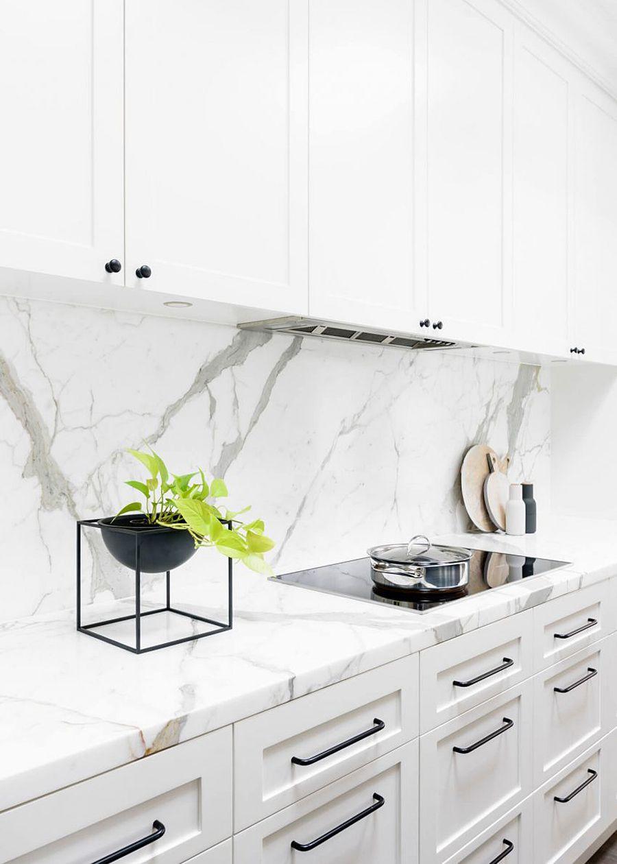 - BLACK & WHITE KITCHEN (With Images) White Marble Kitchen