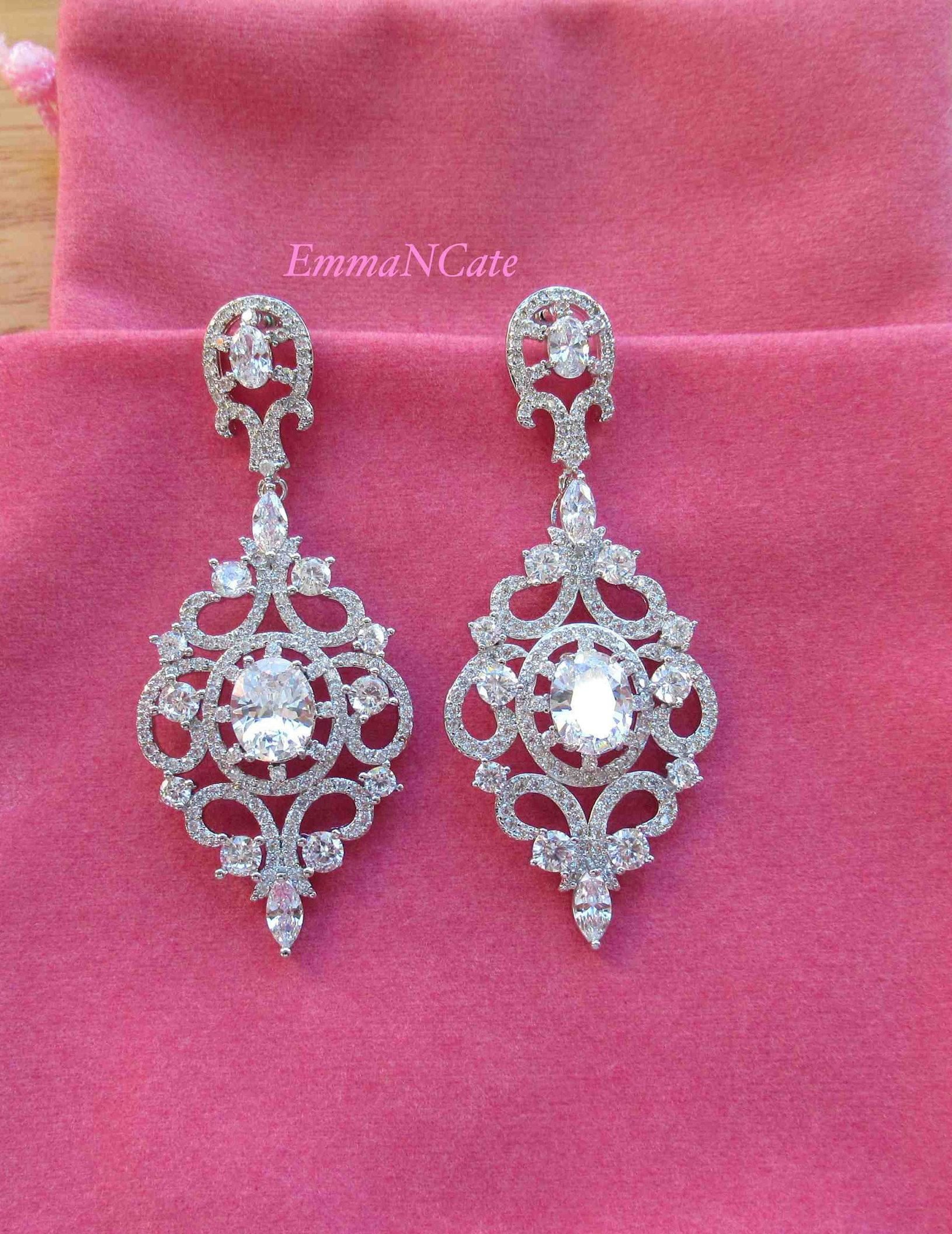 Art Deco Wedding Earrings Bridal Crystal Rhinestone Dangle