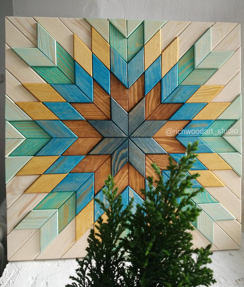 Wood wall art, Geometric art, Rustic wall decor, Reclaimed Wood Art, 3 d wall art decor, Wood mosaic, Wood sculpture, Abstract painting