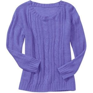 Faded Glory Women's Textured High Low Sweater - Peri Heather