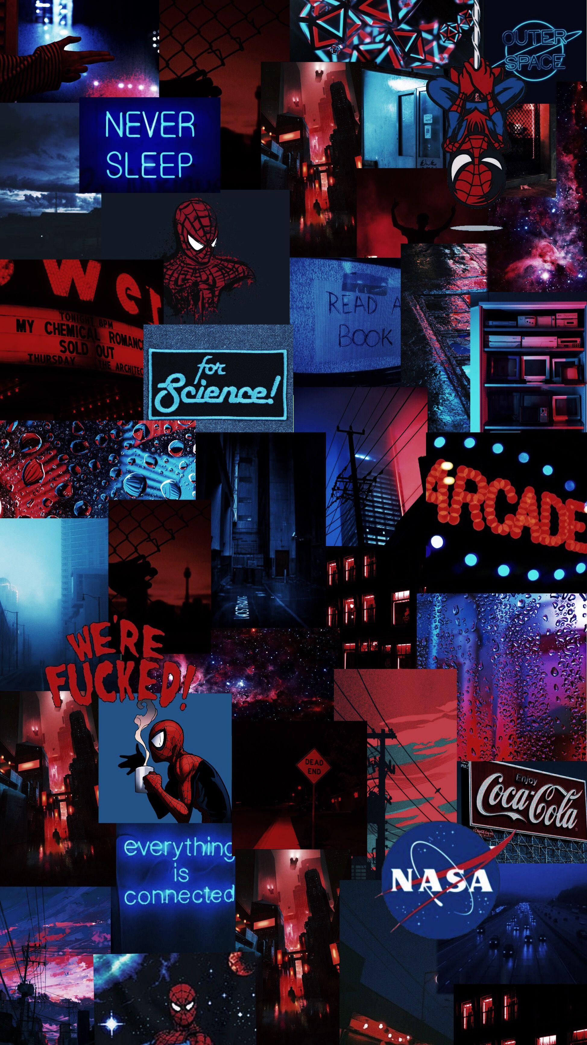 Spiderman Blue Red Blueandred Grunge Vaporwave Aesthetic