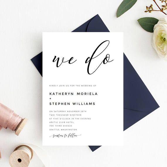 We Do Wedding Invitation Printable Template Download, Calligraphy - download invitation templates