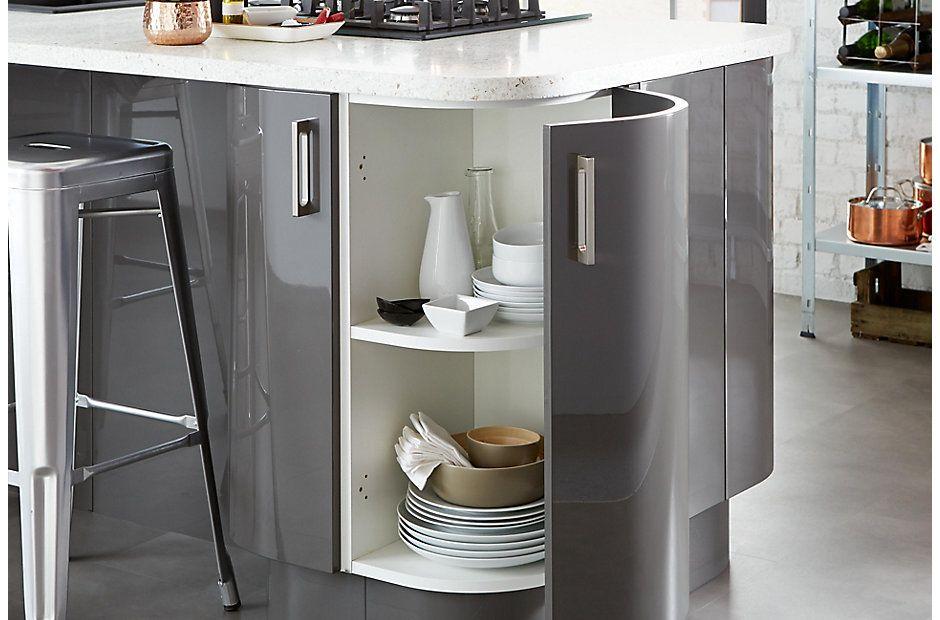 Cl Kitchen Raffello Anthracite Curved Corner Cupboard 940 620 Kitchen In 2019 Breakfast Bar Kitchen Kitchen Und Industrial Kitchen Design
