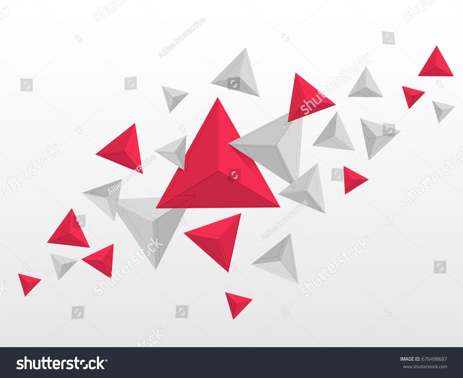 Abstract Triangles Elements In Red And Gray Colors Flying