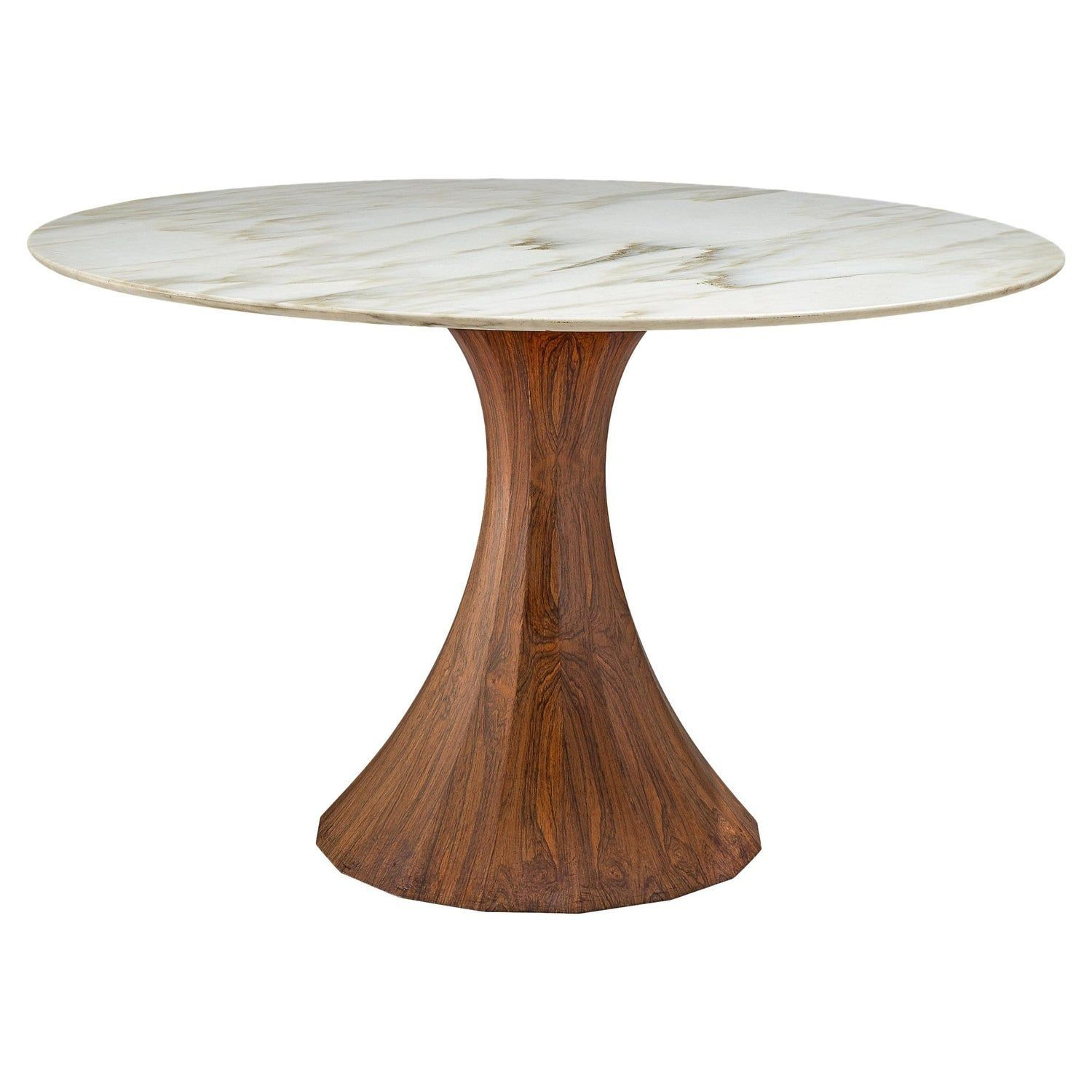 Italian Round Marble Table With Wooden Pedestal Circa 1970 Marble Pedestal Table Marble Top Dining Table Marble Table