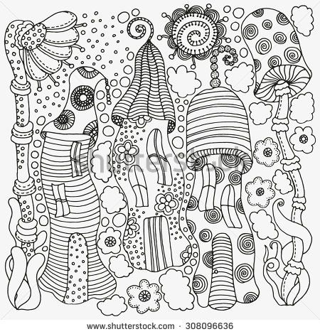 fantasy mushroom coloring pages - photo#17