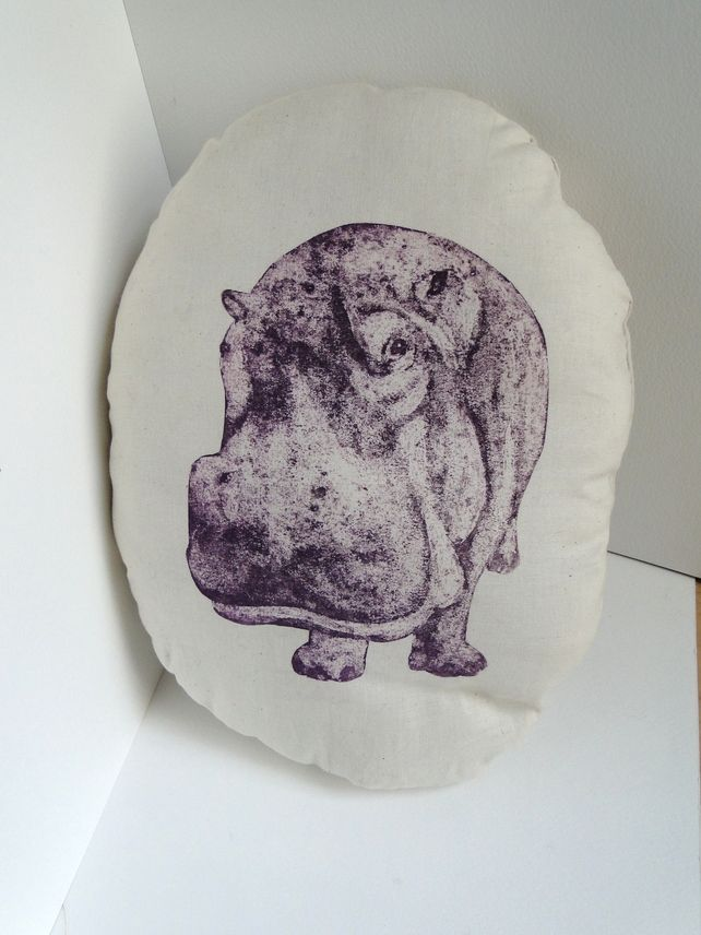 Purple Hippo Cream Stuffie Cushion Hand Printed Collagraph Print  £8.00