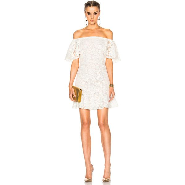 Valentino Heavy Lace Off The Shoulder Dress ($2,065) ❤ liked on Polyvore featuring dresses, lace dress, off-the-shoulder lace dresses, valentino dress, ruffle cocktail dress and white dress