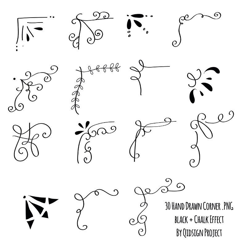 30 Hand drawn corner clipart chalk and black Scrapbook