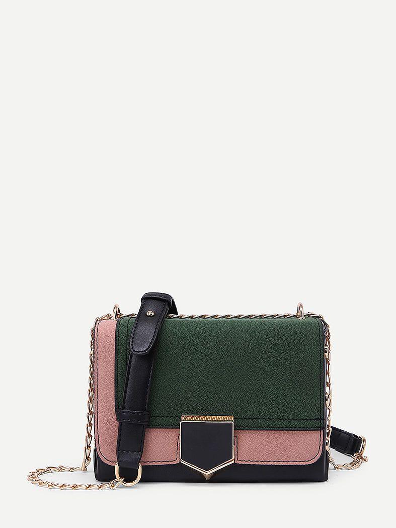 768b6c80e1 Two Tone PU Flap Crossbody Bag -SheIn(Sheinside) Chain Crossbody Bag,  Luggage