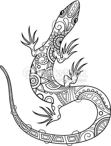 Tribal Decorative Lizard. Patterned Design, Tattoo