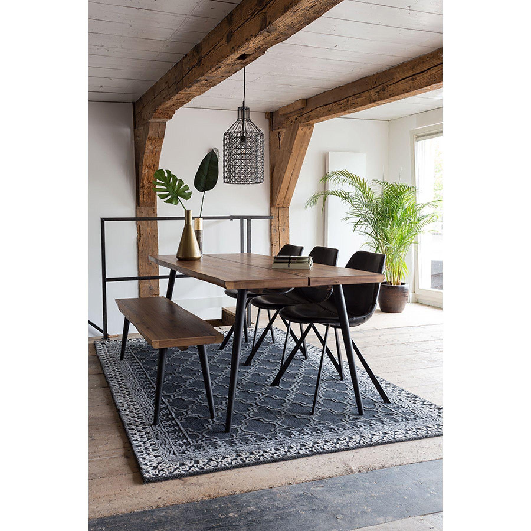 Bankje en stoelen aan de eettafel Alagon van Dutchbone #hout ...