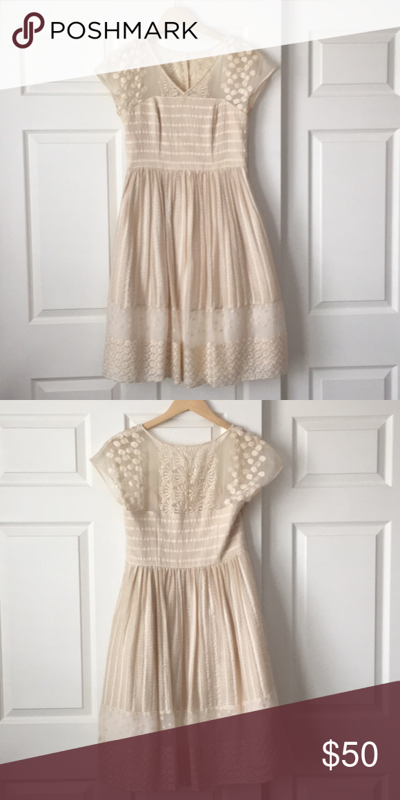 54ebfd06682af Anthropologie Ivory Poema Lace Dress. Gorgeous dress. Perfect for a bride  for showers or a casual wedding! Anthropologie Dresses
