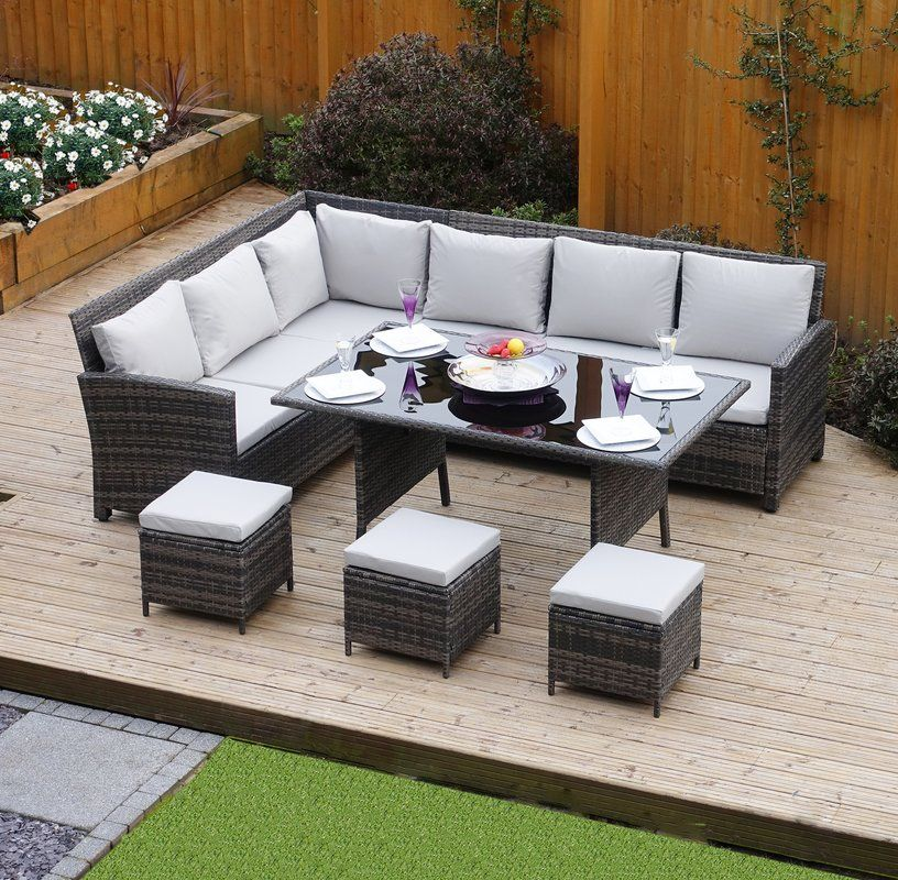 Hokku Designs 9 Seater Rattan Effect Sofa Set Reviews Wayfair Co Uk Garden Sofa Rattan Garden Furniture Sofa Dining Table